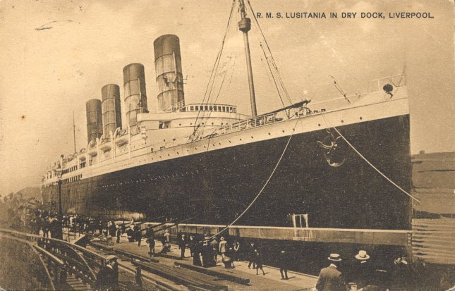 The Lusitania at dock
