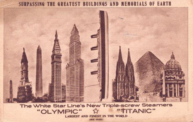 Comparativa de tamaño del Titanic frente a los barcos actuales PC-OL44